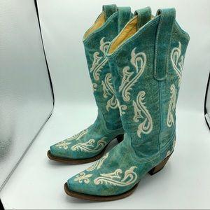 Corral Cortez Turquoise Cowboy Boots r1973 6.5 m